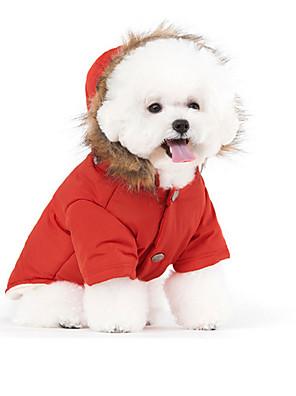 Cães Casacos / Camisola com Capuz Vermelho / Azul / Beje Roupas para Cães Inverno / Primavera/Outono Cor ÚnicaMantenha Quente / A prova