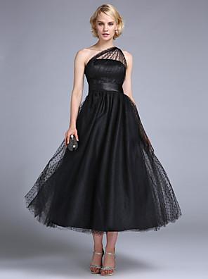 נשף / ערב רישמי / מסיבת החתונה שמלה - שנות ה-50 / בהשראת וינטאג' גזרת A / נסיכה כתפיה אחת באורך הקרסול טול עם תד נשפך / סרט / בד נשפך בצד