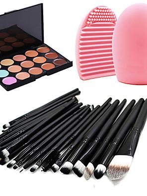 20 ks sada profesionálních štětců na make up + 15 barev korektor + náčiní na čištění štětců