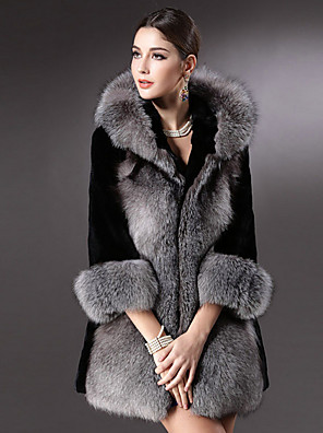 אחיד פשוטה יום יומי\קז'ואל מעיל פרווה נשים,אפור שרוול ארוך חורף דמוי פרווה