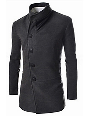 Men's Casual/Daily Simple CoatSolid Shirt Collar Long Sleeve Fall / Winter Black / Gray Cotton Thick