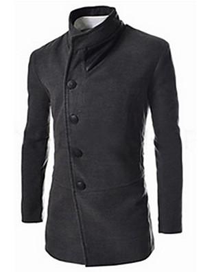 Masculino Casaco Casual Simples Outono / Inverno,Sólido Preto / Cinza Algodão Colarinho de Camisa-Manga Longa Grossa