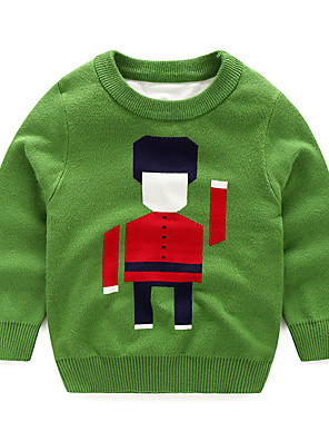 Boy's Cotton Fashion Style Spring/Fall Casual/Daily Cartoon Soldier Color Block Round Collar Long Sleeve Sweater