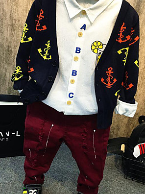 Boy's Casual/Daily Solid Shirt / Sweater & Cardigan / PantsCotton Spring / Fall Black / Red / White