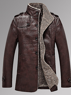 Men's Casual/Daily Simple Leather JacketsSolid Stand Long Sleeve Fall / Winter Black / Brown PU Thick