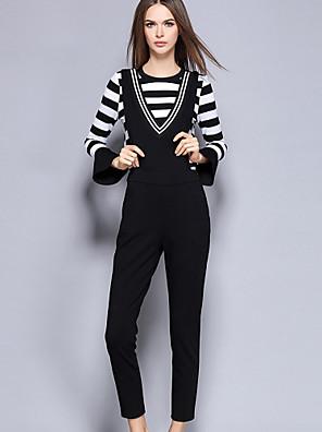 Dames Eenvoudig Herfst Set Pantalon Suits,Uitgaan Gestreept Ronde hals Lange mouw Zwart Katoen / Nylon / Spandex Medium
