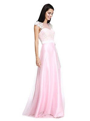 Lanting Bride® עד הריצפה טול / סאטן נמתח אלגנטי שמלה לשושבינה - גזרת A סירה עם אפליקציות / פפיון(ים) / כפתורים / סרט