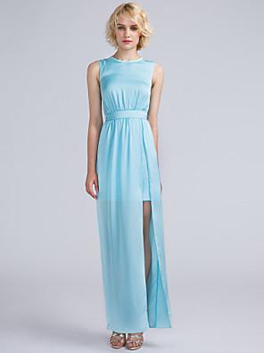 Lanting Bride® Po kotníky Saténový šifon Šaty pro družičky - Furcal Pouzdrové Klenot s Šerpa / Stuha / Rozparek vpředu / Sklady