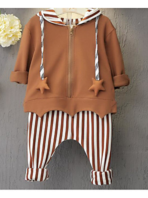 Boy's Casual/Daily Striped Hoodie & Sweatshirt / Clothing SetCotton Spring / Fall Blue / Brown