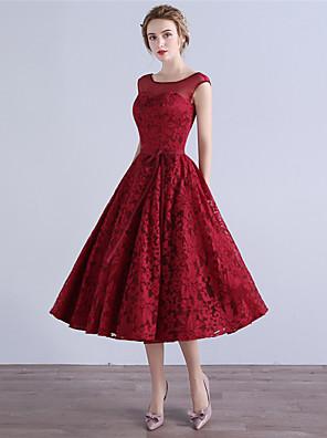 AMGAM® מסיבת קוקטייל שמלה גזרת A מחשוף עמוק באורך הקרסול תחרה עם פפיון(ים)
