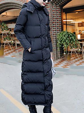 Dámské Dlouhé Dlouhý kabát Jednoduché / Roztomilé / Šik ven Běžné/Denní / Společenské / Velké velikosti Jednobarevné-Kabát Polyester