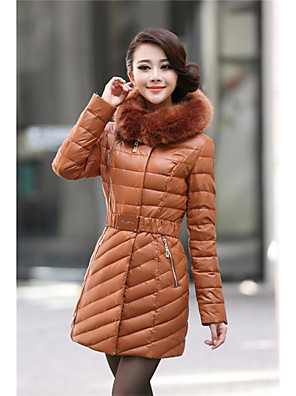 Women's Long Padded Coat,Simple Plus Size Solid-Cotton Polypropylene Long Sleeve Stand Blue / Red / Black / Brown