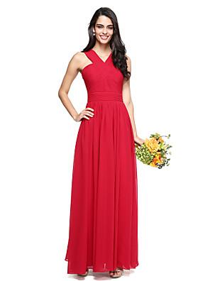 2017 Lanting bride® podlahy Délka šifónové družička elegantní šaty - a-linie Výstřih s criss křížem