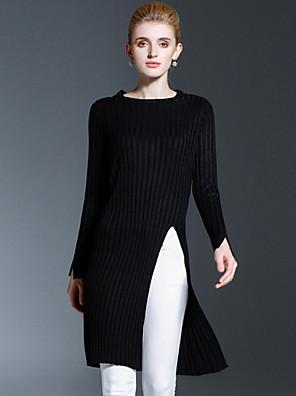 Dames Casual/Dagelijks Eenvoudig Lang Pullover Effen-Zwart Ronde hals Lange mouw Katoen Herfst / Winter Medium Inelastisch