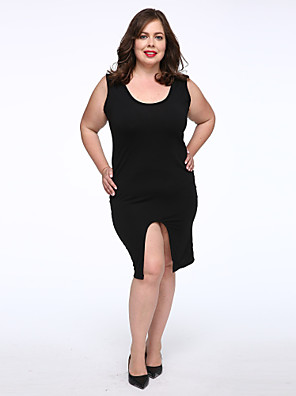 Women's Plus Size / Casual/Daily Simple A Line Dress,Solid Round Neck Knee-length Sleeveless Black Cotton Fall Mid Rise Micro-elastic