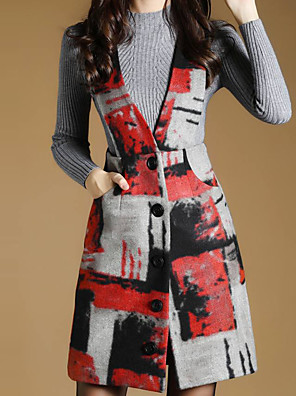 Women's Casual/Daily Simple A Line Dress,Houndstooth V Neck Above Knee Long Sleeve Gray Others Fall / Winter Mid Rise Inelastic Medium