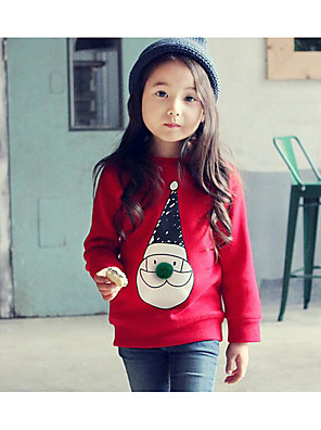 Girl Casual/Daily Print Hoodie & Sweatshirt,Cotton Winter Long Sleeve