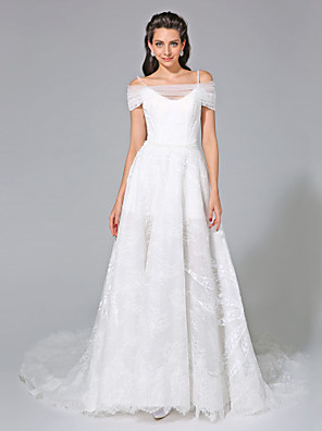 2017 Lanting Bride® A-line Wedding Dress - Elegant & Luxurious Open Back Chapel Train Off-the-shoulder Lace with Beading / Sequin