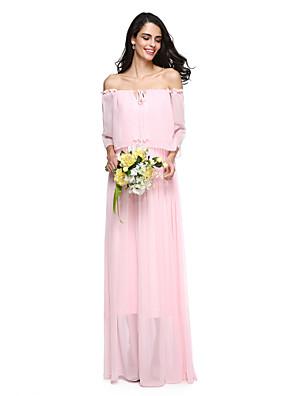 Lanting Bride® עד הריצפה שיפון אלגנטי שמלה לשושבינה - מעטפת \ עמוד מתחת לכתפיים עם קפלים