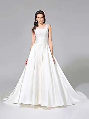 2017 Lanting Bride® A-line Wedding Dress - Elegant & Luxurious Open Back Chapel Train Jewel Satin with Appliques / Ruche / Sash / Ribbon