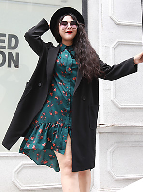 Casual/hétköznapi Egyszerű Őszi / Téli-Női Kabát,Egyszínű V-alakú Hosszú ujj Fekete Poliészter Közepes vastagságú