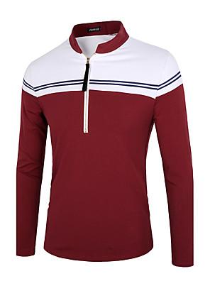 Masculino Polo Informal / Casual Simples / Moda de Rua Primavera / Inverno,Sólido / Listrado Azul / Vermelho Algodão / PoliésterColarinho