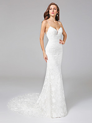 Lanting Bride® Tubinho Vestido de Noiva - Clássico e atemporal Sem costas Cauda Corte Com Alças Finas Renda com Renda