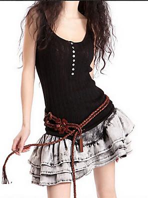 Women's Casual/Daily / Beach Simple Spring / Summer Tank Top,Striped U Neck Sleeveless Black / Orange / Multi-color Cotton / Polyester