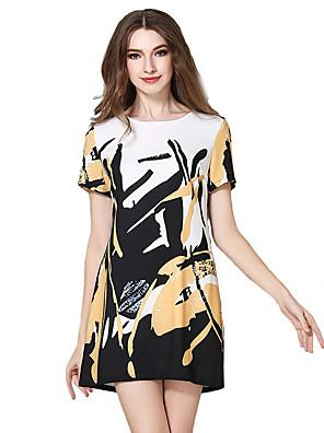 קיץ פוליאסטר צבעוני שרוולים קצרים מידי צווארון עגול דפוס סגנון רחוב יום יומי\קז'ואל שמלה גזרת A נשים,גיזרה בינונית (אמצע) מיקרו-אלסטי דק