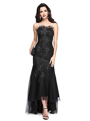 TS Couture® Evento Formal Vestido - Brilho & Glitter / Sensual Justo & Evasê Decorado com Bijuteria Assimétrico Renda / Tule comApliques