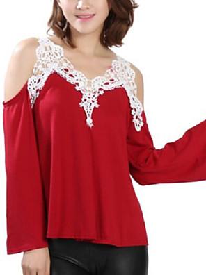 Mulheres Camiseta Casual Simples Outono,Patchwork Azul / Vermelho / Preto / Cinza Poliéster Com Alças Manga Longa Média