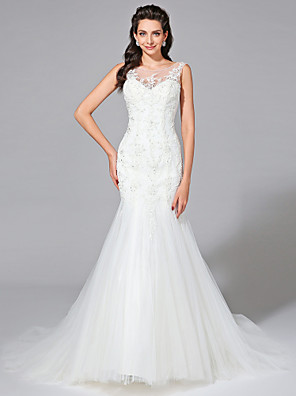 2017 Lanting Bride® Fit & Flare Wedding Dress - Elegant & Luxurious Open Back Court Train Jewel Lace / Tulle with Appliques / Beading