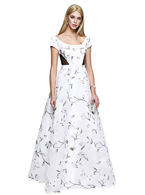 TS Couture® Formální večer Šaty A-Linie Kopeček Na zem Satén s Vzor / Tisk