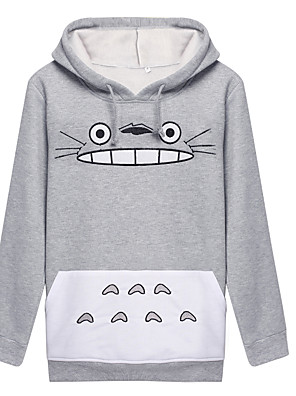 Inspirovaný Můj soused Totoro Kočka Anime Cosplay kostýmy cosplay Mikiny Tisk Biały / Šedá Dlouhé rukávy Kabát