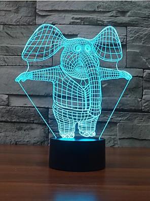 הפיל נוגע עמעום 3D LED מנורת לילה מנורת אווירת קישוט 7colorful תאורת חידוש אור חג המולד