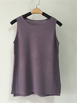 Women's Casual/Daily Simple Summer Tank Top,Solid Round Neck Sleeveless Others Medium