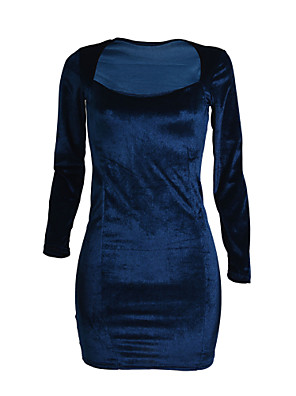 Women's Casual/Daily Sexy Bodycon Dress,Solid Square Neck Above Knee Long Sleeve Blue Polyester Spring Mid Rise Micro-elastic Medium