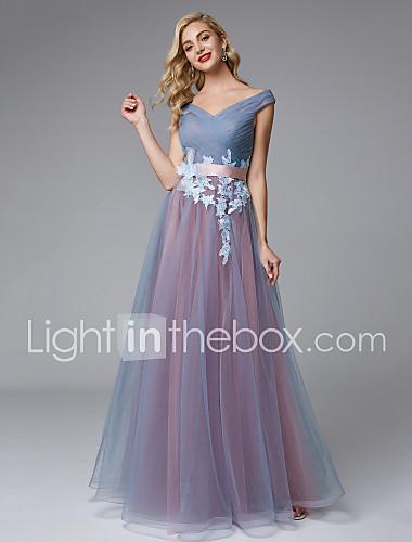 99ea5bf3d61c Γραμμή Α Ώμοι Έξω Μακρύ Δαντέλα   Τούλι Μπλοκ χρωμάτων Χοροεσπερίδα   Επίσημο  Βραδινό Φόρεμα με