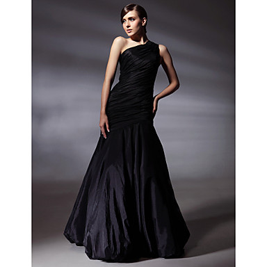 TS Couture Prom Formal Evening Dress - Elegant Celebrity Style Trumpet / Mermaid One Shoulder Floor-length Taffeta with Side Draping