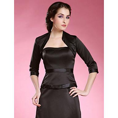 Wedding Wraps Coats/Jackets 3/4-Length Sleeve Satin Black Party/Evening High Neck Open Front