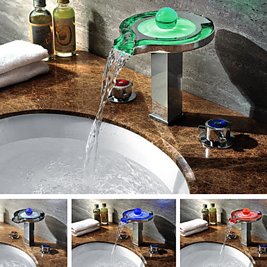 Color Changing Led Waterfall Widespread Bathroom Sink Faucet Chrome Finish 295875 2017