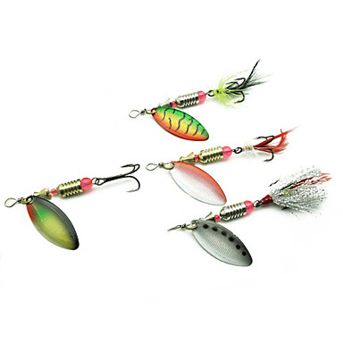 Metal lure packs for river fishing with 4 hooks 4 pieces for Best lures for river fishing