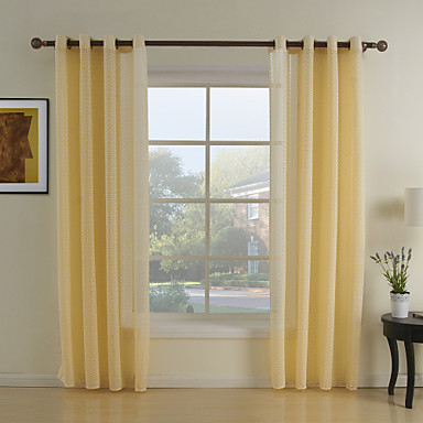 Two Panels Curtain Neoclassical Living Room Polyester Material Sheer Curtains Shades Home