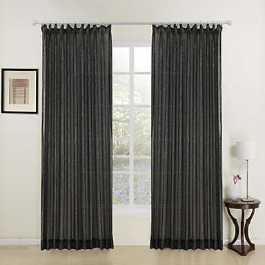 two panels fashion girl black shining sheer curtains