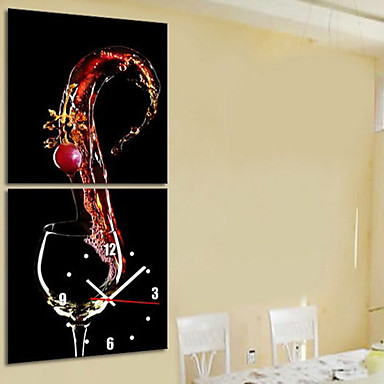 Modern style wine theme wall clock in canvas set of 2 - Horloge murale design pas cher ...