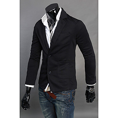 Men's Solid Work Blazer,Polyester / Cotton Blend Long Sleeve Black / Gray