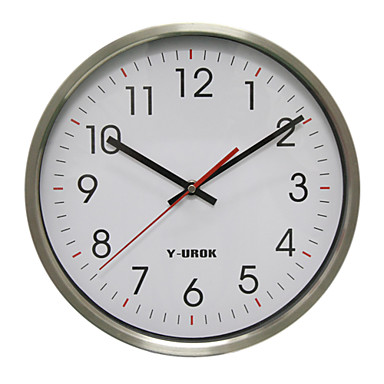 """11.75""""H Modern Style Wall Clock in Stainless Steel 48D"""