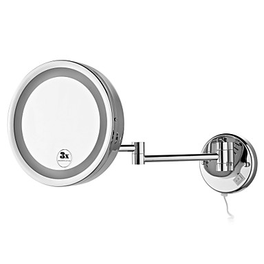 Buy Round 8.5-inch LED Wall Mount Chrome Finish Cosmetic Mirror