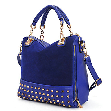 Women PU Casual / Event/Party Tote Blue / Black