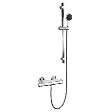 Contemporary Wall Mount Thermostatic Sliding Shower Faucet With 8 Inch Shower Head And Hand